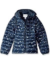 Girls' Lightweight Water-Resistant Packable Hooded Puffer Jacket