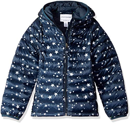 (Amazon Essentials Girls' Lightweight Water-Resistant Packable Hooded Puffer Jacket, Navy Star,)