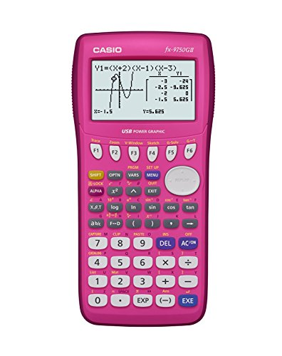 Casio fx-9750GII Graphing Calculator, Pink (Renewed)