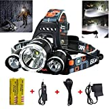 #9: Best LED Headlamp Flashlight 10000 Lumen - IMPROVED LED with Rechargeable 18650 Battery, Bright Head Lights,Waterproof Hard Hat Light,Fishing Head Lamp,Hunting headlamp,Running or Camping headlamps …