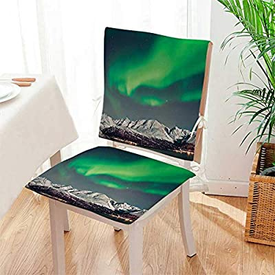 Mikihome Seat Set Cushion Aurora Above Fjords Magical Nordic Northern Lights Sky Arctic Solar Scenery Jade Green 2 Piece Classic Decorative Chair pad Mat:W17 x H17/Backrest:W17 x H36