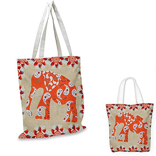 Asian canvas messenger bag Elephant in Paisley Floral Drawing Ethnic Eastern Style Traditional Ornament canvas beach bag Orange Red White. 16