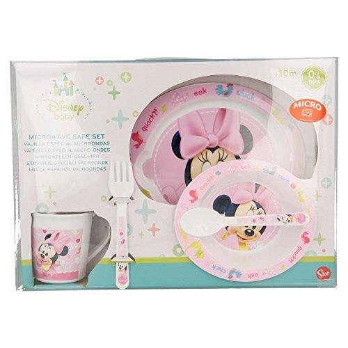 SET MICRO BABY 5 PIEZAS(PLATO, CUENCO, TAZA Y CUBIERTOS) Minnie ...