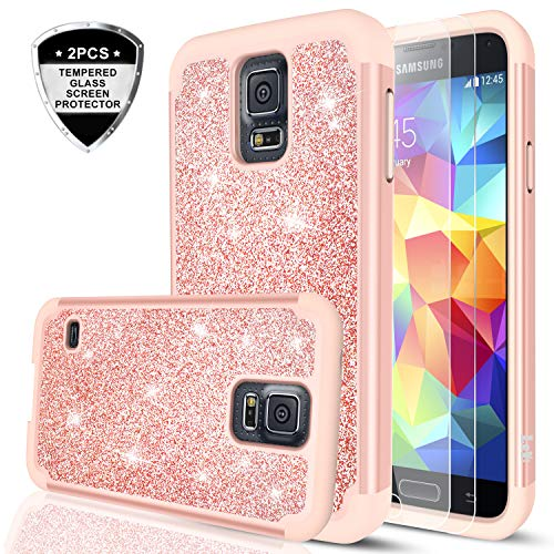 se with Tempered Glass Screen Protector, LeYi Bling Cute Girls Women Design [PC Silicone Leather] Dual Layer Heavy Duty Protective Phone Case for Samsung Galaxy S5 TP (Rose Gold) ()