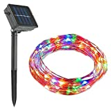 Cheerswill Waterproof LED Solar Copper Wire String Lights Decorative Christmas Lights Strip for Wedding Parties Twinkle Lights (100 Leds,12m,Colorful)