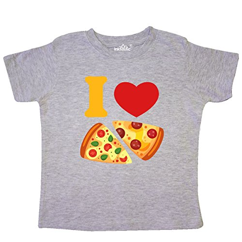 (inktastic - I Love Pizza Toddler T-Shirt 2T Heather Grey 26ed9)