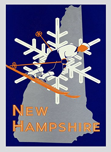 "Ski Cannon Skiing Snow in New Hampshire Mountain Ski Area American Winter Sport Vintage Poster Repro 12"" X 16"" Image Size. We Have Other Sizes Available!"