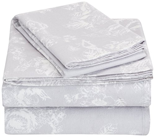 Pinzon 170 Gram Flannel Sheet Set – Twin, Floral Grey