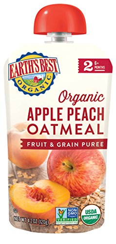 Earth's Best Organic Stage 2, Apple, Peach & Oatmeal, 4.2 Ounce Pouch (Pack of 12) (Packaging May Vary) - Prunes Organics Stage 2