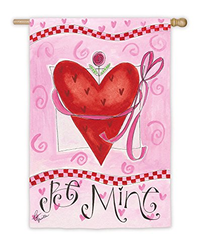 Evergreen Suede Be Mine Pink Valentine's Day Heart House Fla