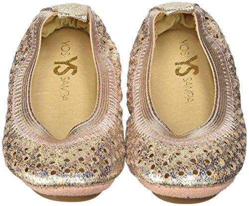 Yosi Samra Girls' Sammie Iridescent Crinkel (Toddler), Rose Gold 7 M