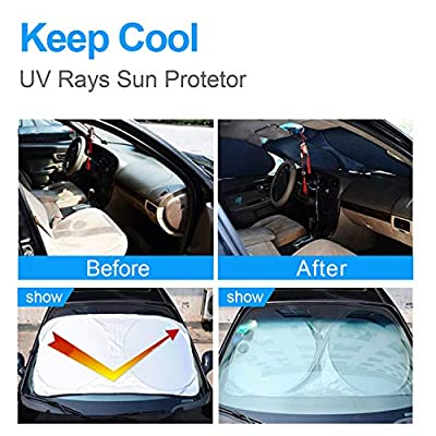 OKEECA Car Windshield Sun Shade,Blocks UV Rays Sun Visor Protector,Sunshade to Keep Your Vehicle Cool and Damage Free, Easy to Use, Fits Windshields of Various Sizes (63inx35in /160cmx89cm): Automotive