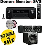 Denon AVRX3200W 7.2 Channel Full 4K Ultra HD A/V Receiver with Bluetooth and Wi-Fi + SVS Prime Satellite Speakers (Piano Gloss 5.1 System) + Monster - Platinum XP Clear Jacket MKIII 50' Compact Speaker Cable - Clear/Copper Bundle