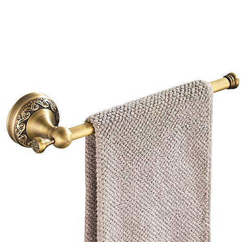 WOLIBEER Short Towel Bar, Brass Towel Ring Rail, Antique Finished Surface with Carvings Retro Style for Bathroom Kitchen Shower Room Wall Mounted ()