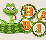 "Reptile Snake Birthday Party Decorations Supplies - ""HAPPY BIRTHDAY"" Garland Bunting Banner"