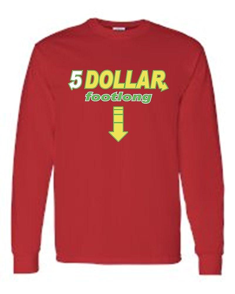 2824de8f Amazon.com: SHORE TRENDZ Men's/Unisex Funny Five Dollar Footlong Long  Sleeve T-Shirt: Clothing