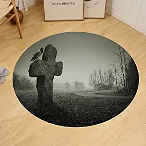 binpon123 Custom round floor mat scary background for halloween old grave with a cross and the raven