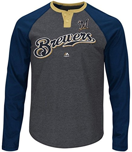 Majestic Athletic Milwaukee Brewers MLB Mens Ready To Go Long Sleeve Raglan Shirt Big & Tall Sizes (5XL)