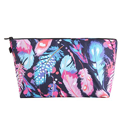 Women Makeup Cosmetic Zip Bag Case Pouch in Feather Design