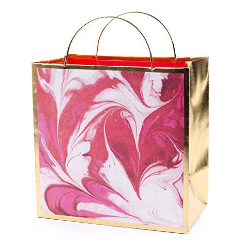 Hallmark Signature 7 Medium Gift Bag (Pink Marble and Gold) for Mothers Day, Birthday, Holiday, Bridal Shower, Valentines Day and More