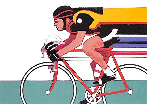 Original Artwork by Robert Peak, 1984 Summer Olympics Cycling Stamp Old Vintage Track & Field Postcard Post Card