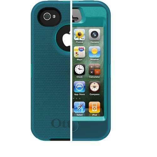 OtterBox Defender Series Case for iPhone 4/4S- Retail Packaging Protective Case - Reflection (Aqua Blue&mineral Blue)