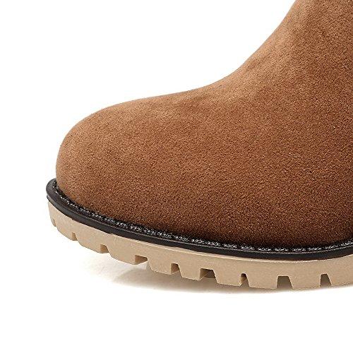 Brown Round Heels Boots Kitten Zipper Women's Solid Toe AgooLar PU wCAzx4qA5