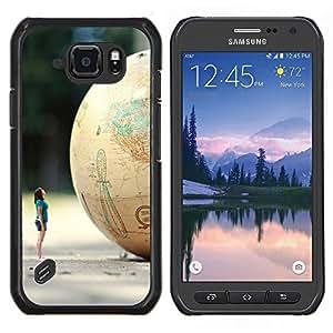 LECELL--Funda protectora / Cubierta / Piel For Samsung Galaxy S6Active Active G890A -- Globo Mujer Arte Minion planeta enano --