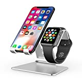 Apple Watch Stand, OMOTON 2 in 1 Universal Desktop Cell Phone Stand and Apple Watch Stand, Advanced 4mm Thickness Aluminum Stand Holder for iPhone and Apple Watch (Both 38mm & 42mm), Silver