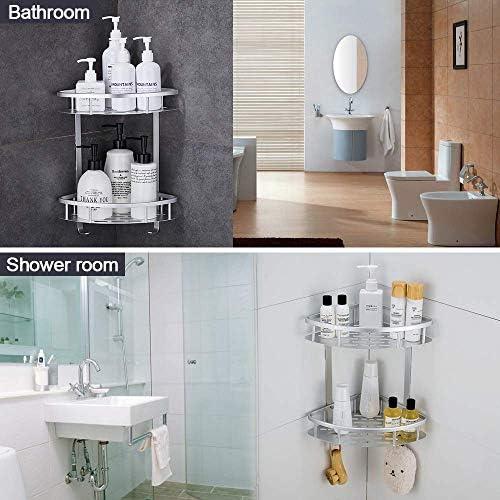 Hoomtaook Bandeja de baño triangular plateada, Cesta de ducha ...