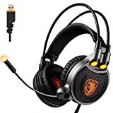 2017 SADES R1 USB Wired 7.1 Surround Stereo Sound Gmaing Headset with Flexible Microphone for PC,4D Physical Vibration Sound,Volume Control,LED Light(Black Organe)