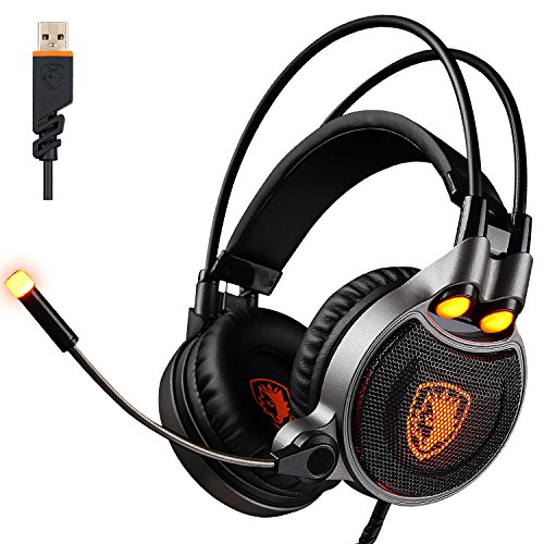2017 SADES R1 USB Wired 7.1 Surround Stereo Sound Gmaing Headset with Flexible Microphone for PC,4D Physical Vibration Sound,Volume Control,LED Light(Black Organe) by SADES