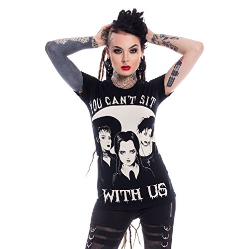 Heartless Wednesday Addams Family Sit With Us Tee Punk Goth Cotton Top T-Shirt - Black (XL)