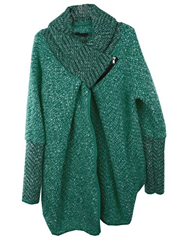 Feel Sarcelle Quirky GG Cocoon Manteau Mesdames Layer Veste italienne Oversize Coatigan Wool Femmes Collar Cape Chenille Zip Lagenlook Marl Poncho pxqXYWU6wq