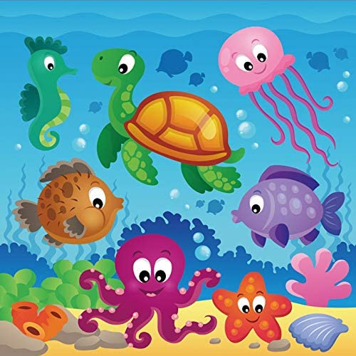 10x6.5ft Cartoon Undersea World Polyester Photography Background Various Marine Organism Backdrop Tropical Fish Colorful Coral Reefs Seaweed Blue Sea Water Children Kids Birthday Decor Wallpaper