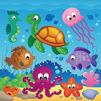 10x15Ft Vinyl Ocean Animal Decor Backdrop for Photography,Fish Figures with Ancient Ottoman Ornate Mosaic Hand Drawn Marine Artwork Background Newborn Baby Photoshoot Portrait Studio Props Birthday Pa