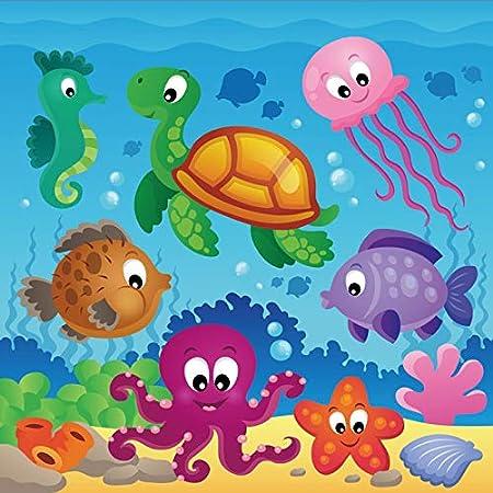 10x12 FT Backdrop Photographers,Bunch of Sea Animals Submarine Crabs Squid Lobster Octobus Seaweed Starfish Stingray Background for Child Baby Shower Photo Vinyl Studio Prop Photobooth Photoshoot