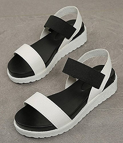 Basse Printemps Pratique Convient Plate Été Chaussures Plateforme d'été Saison Noir Sandales Fille Élégant Adultes et Forme Blanc Femme HSIOvqIw