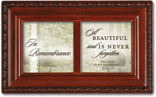 Cottage Garden In Remembrance Woodgrain Petite Music Box/Jewelry Box Plays How Great Thou Art