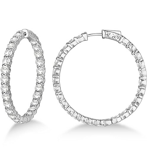 Prong-Set Large Diamond Hoop E