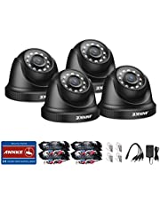 ANNKE 4-Packed Add-on Security Camera Kits, HD TVI Outdoor Weatherproof Dome Cameras with IR Night Vision-Black