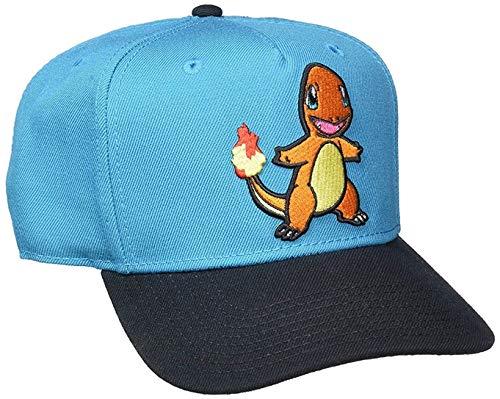 bioWorld Pokemon Charmander Embroidered Snapback Cap Hat, Blue
