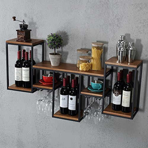 Industrial Retro Rustic Style Multi - Function Shelves Iron Art Solid Wood Board Wine Glass Holder Storage Wine Rack Coffee Shop Cafe Restaurant Hanging Shelves Decoration