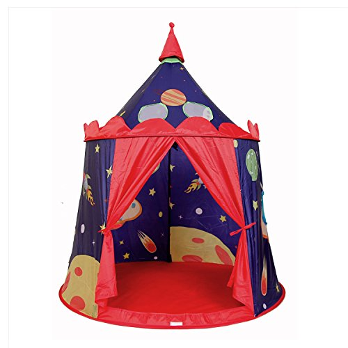 Large Children Play Tent - Upgraded Premium Space Castle Yurt Pop Up Kids Playhouse Ball Pit by Wonder Space, Mesh Skylights Windows & Velcro Strap, Best Indoor/Outdoor Gift for Boys and Girls