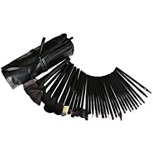 32 Piece Cosmetic Make Up Brush Set by Kurtzy - Best Professional Quality Large Makeup Brushes Kit in Free Roll Up Beauty Case Brush Holder Pouch - Ideal Cosmetics Products Sets for Women or Girls