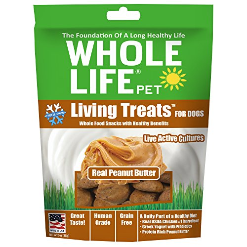 Whole Life Pet Living Treats Freeze Dried Probiotic Treats For Dogs With Real Peanut Butter, 3Oz
