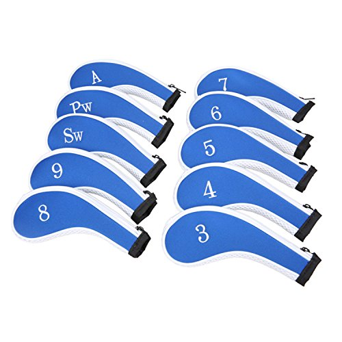 Neoprene Zipper Golf Club Iron Head Covers Iron Covers 10pcs/Set(Blue&White) Neoprene Neck Shield