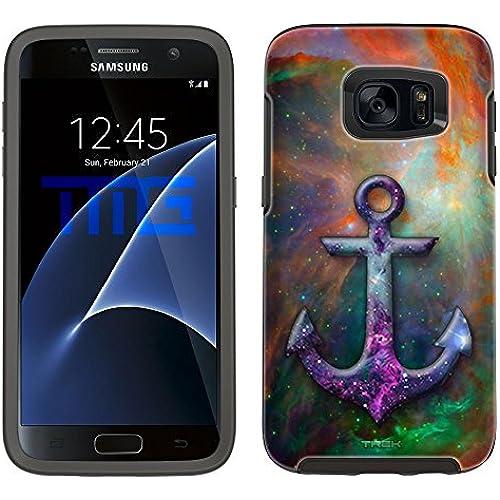 Skin Decal for Otterbox Symmetry Samsung Galaxy S7 Edge Case - Anchor on Nebula Green Orange Sales