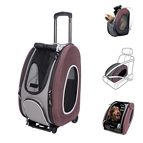 ibiyaya 4 in 1 Pet Carrier + Backpack + CarSeat + Carriers on Wheels for Dogs and Cats (Brown) For Sale