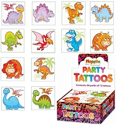 LND Gifts Dinosaur Temporary Tattoos 12 Tattoos 1 Pack